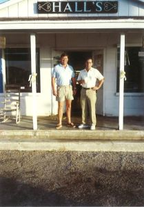 Ralph and Frank Catchpole waiting on  the fishing day in front of Halls' Bait Store, marathon, Florida