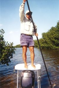 Guide Dale Perez on the pole on Newport News Flat, Key Largo