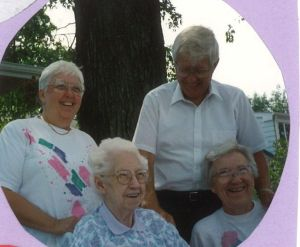 Grandma Rowe and her kids, Myrtle, Frank, and Mary Lois