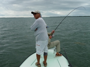 Captain Perez and Larry LaFleur Hooked Up To Big Tarpon In The 26 Foot Hole